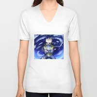 kakashi V-neck T-shirts featuring The Ninja from Leaf Village by cromarlimo