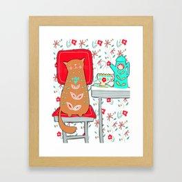 Happy Cat Vintage Kitchen (2 of 2) Framed Art Print