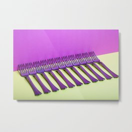 still life with forks on a colorful background Metal Print