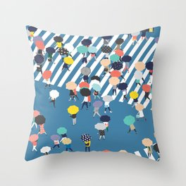 Crossing The Street On a Rainy Day - Blue Throw Pillow