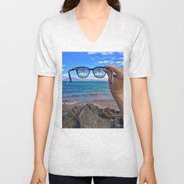 Hawaii Sunglasses Palmtrees Unisex V-Neck