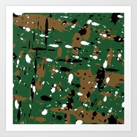 camo Art Prints featuring camo by Panic Junkie