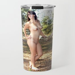 Pretty Nude Brunette Outdoors Travel Mug