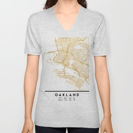 OAKLAND CALIFORNIA CITY STREET MAP ART Unisex V-Neck