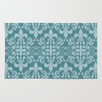 damask Area & Throw Rugs featuring Damask by Xiao Twins