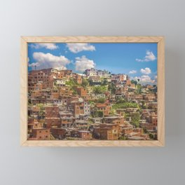 Favelas at Hill, Medellin, Colombia Framed Mini Art Print