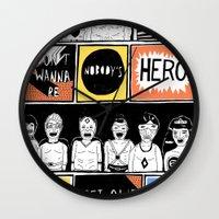 superheroes Wall Clocks featuring Superheroes SF by WASTED RITA