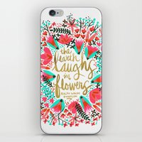 waldo iPhone & iPod Skins featuring The Earth Laughs in Flowers – Pink & Gold by Cat Coquillette