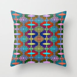 Pizza Party double rainbow gradient doodle Throw Pillow
