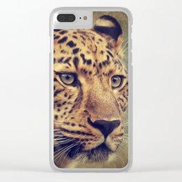 Leopard portrait Clear iPhone Case