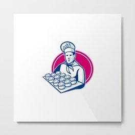 baker serving tray of pork meat pies retro Metal Print