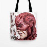 daredevil Tote Bags featuring Daredevil by rchaem