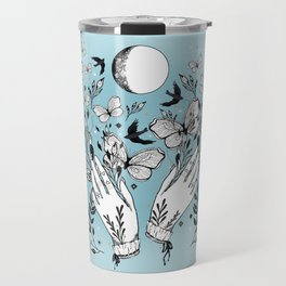 Full Moon Magic Of Nature With Blackbirds And Butterflies Travel Mug