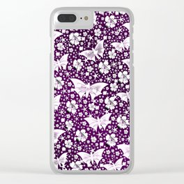 purple,siilver,flowers, stars, butterfly, pattern, bright, shiny, elegant, color Clear iPhone Case