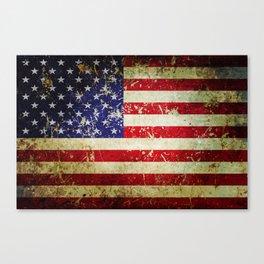 Grunge Vintage Aged American Flag Canvas Print