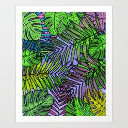 Palm & Monstera Leaves Art Print