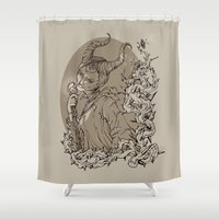 maleficent Shower Curtains featuring Maleficent by Sannypuff