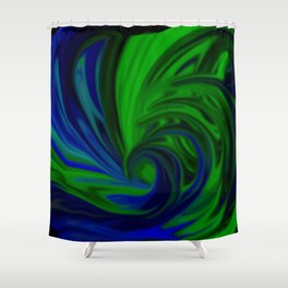 Blue and Green Wave Shower Curtain