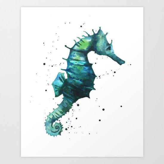 Seahorse print, seahorse painting, watercolor seahorse, green ...