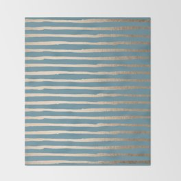 Abstract Stripes Gold Tropical Ocean Blue Throw Blanket