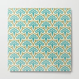 Floral Scallop Pattern Sage and Turquoise Metal Print