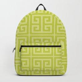 Lime Greek Key Pattern Backpack