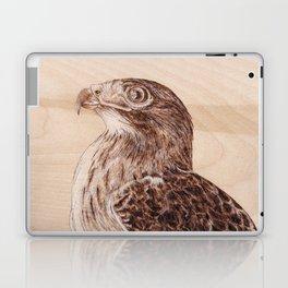 Hawk Portrait - Drawing by Burning on Wood - Pyrography Art Laptop & iPad Skin