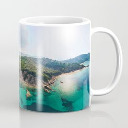 The beaches Agia Eleni and Banana of Skiathos island from drone, Greece Coffee Mug