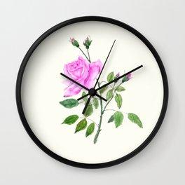pink rose watercolor painting Wall Clock