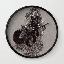 Black Fox and Star Flower Jasmine Tangle Wall Clock
