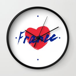 France, hand lettering vector. Modern calligraphy pen and ink Wall Clock