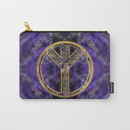 Algiz  Rune Amethyst and Gold Carry-All Pouch