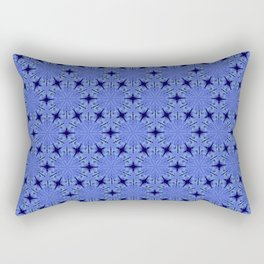 Christmas Blue Night Snowflake Pattern Rectangular Pillow