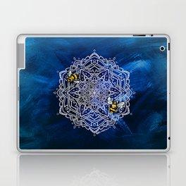 Bee Dance Mandala A - Textured Indigo Laptop & iPad Skin