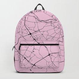 Dublin Ireland Pink on Black Street Map Backpack