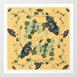 2941-Australian-Native-Violet-and-Blue-Butterfl Yellow Art Print