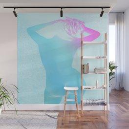 Carefree Nude Blue Fuchsia Teal Wall Mural