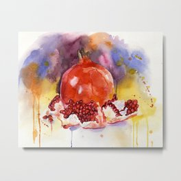 Still life pieces and half a pomegranate on a watercolor background Metal Print