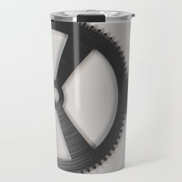 Set of metal gears and cogs on white Travel Mug