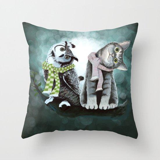 Cat and Owl Throw Pillow