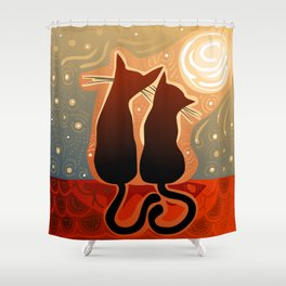 couple of cats in love on a house roof Shower Curtain