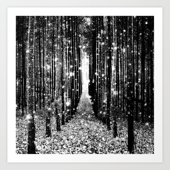 Magical Forest Black White Gray Art Print