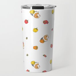Bell Peppers and Guinea Pigs Pattern in White Background Travel Mug