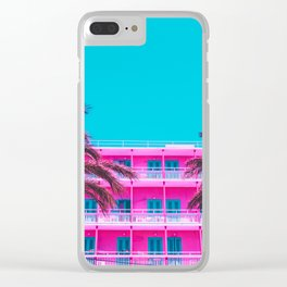 pink hotel and palm tees. Clear iPhone Case
