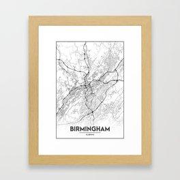 Minimal City Maps - Map Of Birmingham, Alabama, United States Framed Art Print