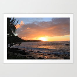 North Shore of Oahu.  Best surfing in the world.  Art Print