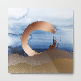 Inspiration: Gold, Copper And Blue Metal Print