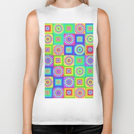 Multicoloured Patchwork Flowers Hippy Style Biker Tank