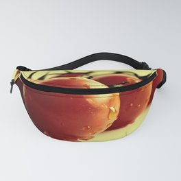 Tomatoes on the bush on yellow background Fanny Pack