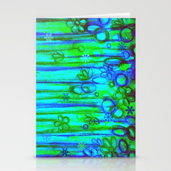 WINTER GARDEN -Bright Blue Green Neon Snowflake Floral Abstract Watercolor Painting and Digital Art Stationery Cards